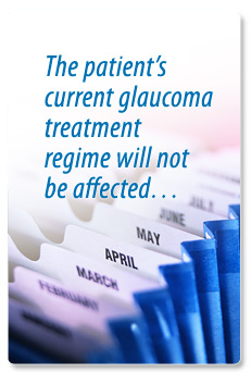 The patient's current glaucoma treatment regime will not be affected.